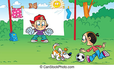 funny football - The illustration shows the funny cartoon...