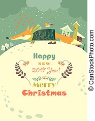 Funny fox and snowdrifts - Vector greeting card with fox and...