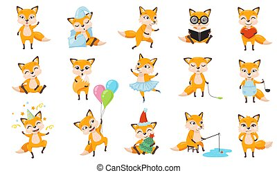 Funny foxes set