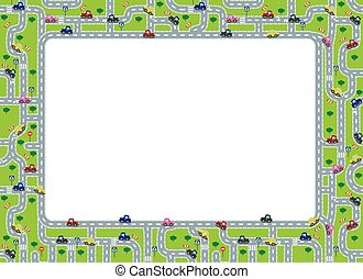 Funny frame or border with roads and cars. - Funny frame or...