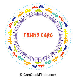 Funny frame with cars for kids