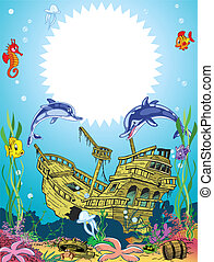 funny frame with underwater sea lif - The illustration shows...