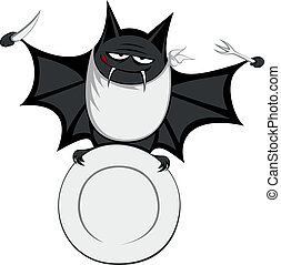Funny freaky bat - a big black fat and hungry bat is smiling...