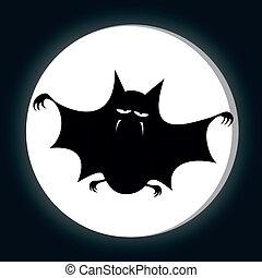 Funny freaky bat - a big black fat bat is smiling at you...
