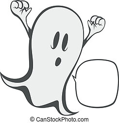 Funny freaky ghost - a haunting ghost with a speech bubble...