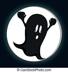 Funny freaky ghost - a haunting ghost with in front of a...