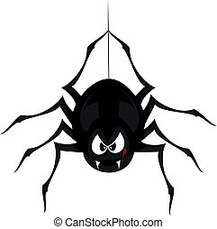Funny freaky spider - a black cartoon-style spider is...