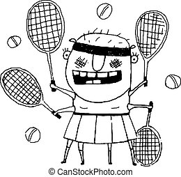 Funny freaky tennis player character monster outline doodle...