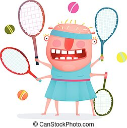 Funny freaky tennis player monster - Fun cartoon sporty girl...