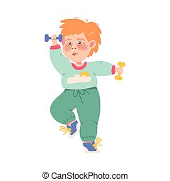 Funny Freckled Boy Athlete Doing Physical Exercise with Dumbbells Vector Illustration