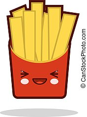 Funny french fries cartoon character icon kawaii fast food Flat design Vector
