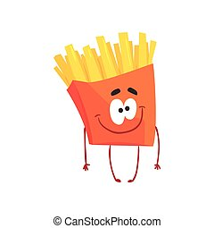 Funny french fries cartoon fast food character, element for menu of cafe, restaurant, kids food, vector Illustration