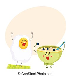 Funny fried egg and bowl of cereal characters, ideal breakfast