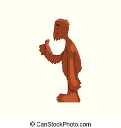 Funny friendly bigfoot showing thumbs up, mythical creature cartoon character vector Illustration on a white background