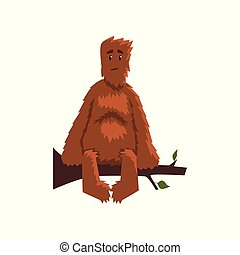 Funny friendly bigfoot sitting on tree branch, mythical creature cartoon character vector Illustration on a white background