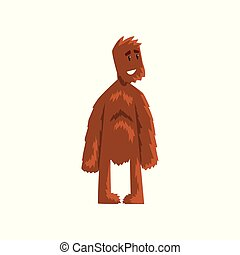 Funny friendly smiling bigfoot mythical creature cartoon character vector Illustration on a white background