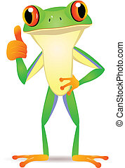 Funny frog cartoon - Vector illustration of funny frog...