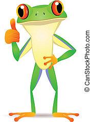 Vector illustration of funny frog cartoon