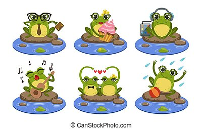 Funny Frog Characters Set, Cute Humanized Amphibian Animal in Different Situations Vector Illustration