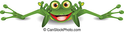 funny frog is on his stomach - illustration funny green frog...