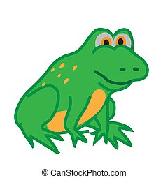 Funny frog on a white background.