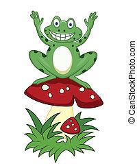 Funny frog sitting on mushroom