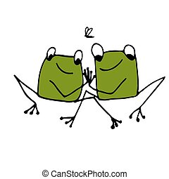 Funny frog, sketch for your design. Vector illustration