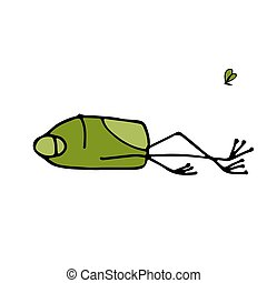 Funny frog sleeping, sketch for your design