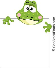Funny frog with blank sign