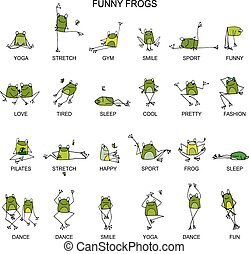 Funny frogs collection, sketch for your design. Vector...
