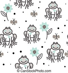Funny frogs grey and blue seamless vector pattern.