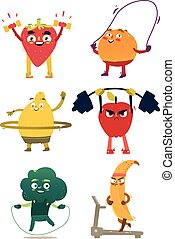 Funny fruit and berry characters doing sport
