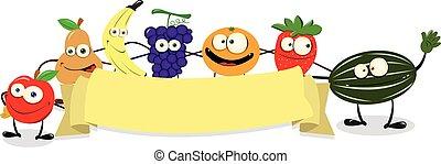 Funny Fruit Banner - a vector cartoon representing a funny...