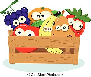 Funny Fruit in a Box - A vector cartoon representing some...