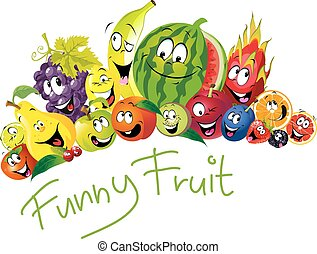 Funny fruit - many fruit with smile