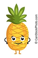 Funny fruit pineapple isolated cartoon character