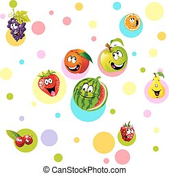 funny fruit with colorful dotteddes