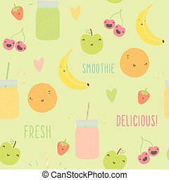 Funny fruits and smoothie jars seamless pattern.