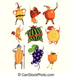 Funny fruits cartoon characters set, people in fruit costumes comic vector Illustrations