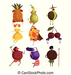 Funny fruits cartoon characters set, people in fruit costumes vector Illustrations