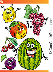 funny fruits cartoon illustration set