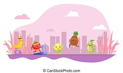Funny fruits do sport, colorful pink background, concept healthy lifestyle, healthy eating, cartoon style vector illustration.