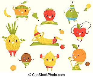 Funny fruits doing sports, sportive strawberry, pineapple, kiwi, banana, apple, orange, pear, kiwi cartoon characters doing fitness exercises vector Illustration on a white background