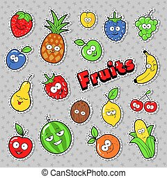 Funny Fruits Emoticons Badges, Patches, Stickers with Banana Apple Pear and Lemon. Vector illustration