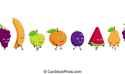 Funny fruits go after each other