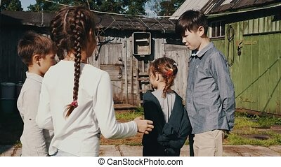 funny., game., countryside., enfants, rue, teens., childhood., jouer