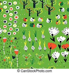 Funny garden seamless pattern in spring with flowers, trees, vegetables, animals.