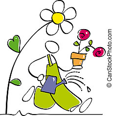 funny gardener - gardener is watering the garden plants and...