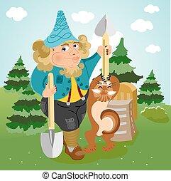 funny gardener with shovel
