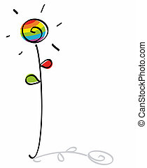 funny gay flower - flower with gay flag rainbow colors